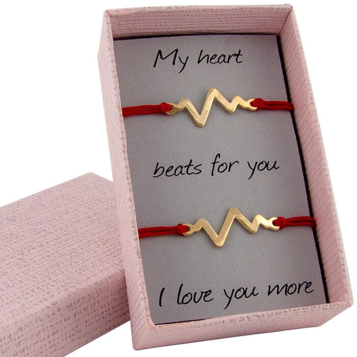 Гривни с червен конец жълто злато пулс в кутийка с послание