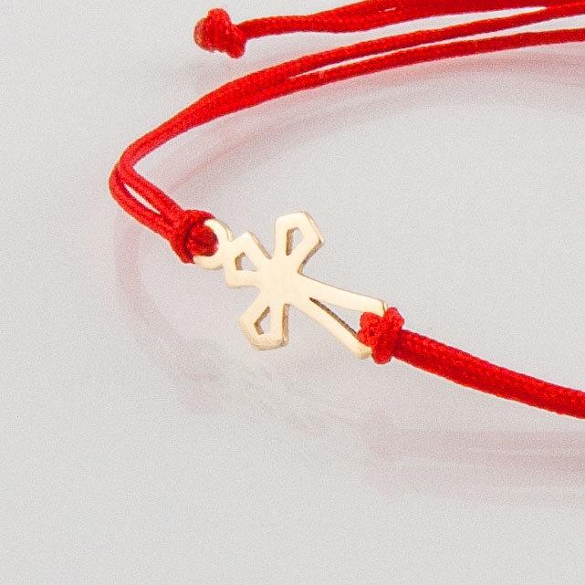 Гривна с червен конец жълто злато кръстче ромб