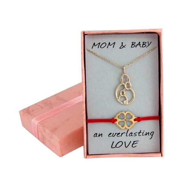 """Златен комплект """"Колие за мама и бебешка гривна с детелинка"""""""