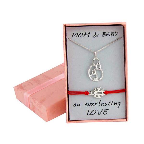 """Сребърен комплект """"Колие за мама и бебешка гривна с ангелче"""""""