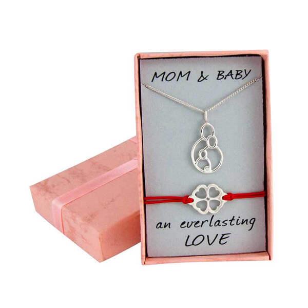 "Сребърен комплект ""Колие за мама и бебешка гривна с детелинка"""