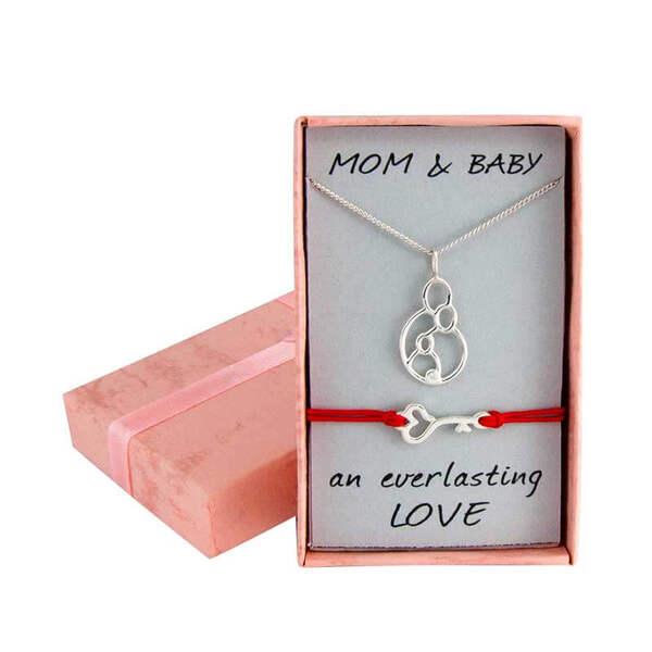 """Сребърен комплект """"Колие за мама и бебешка гривна с ключе"""""""