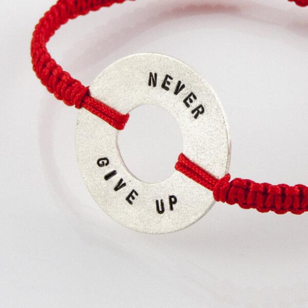 "Сребърна гривна ""Never Give up"""