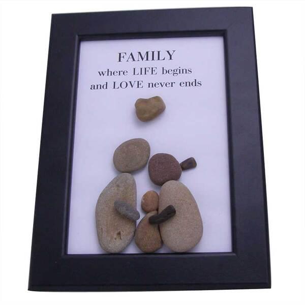 """Картина от морски камъчета """"Семейство"""""""