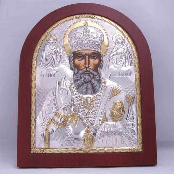 Сребърна икона на Св. Николай (голяма)