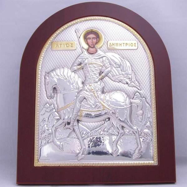 Сребърна икона Св. Димитър (голяма)
