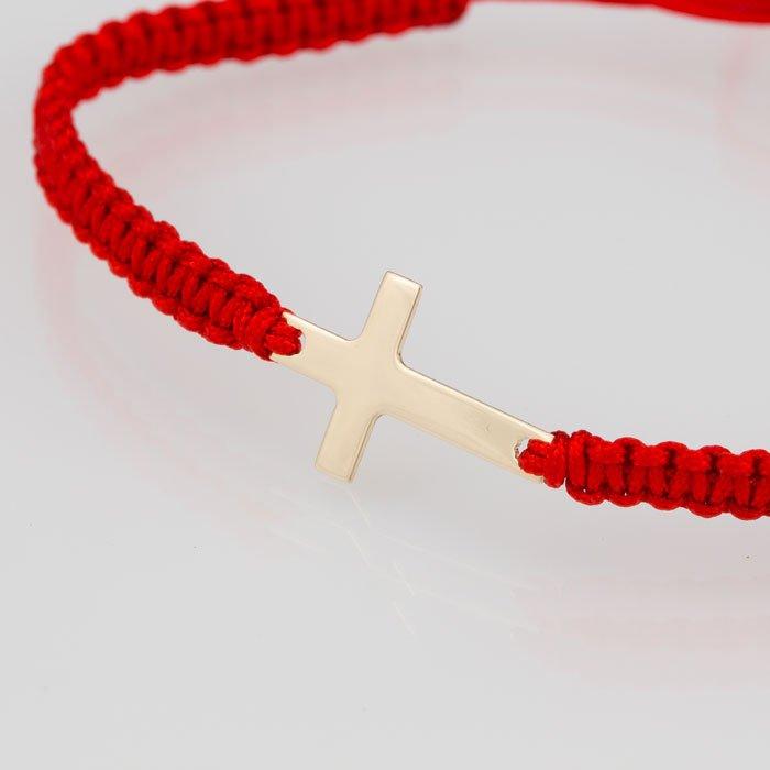 Гривна с червен конец жълто злато кръстче
