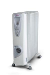 Маслен радиатор Tesy CB 2009 E01 V, 301532, Мощност 2000 W, Девет ребра, Вентилатор, Бял