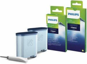 Philips Комплект за поддръжка за машините за еспресо Saeco, цялостна защита, 2 филтри AquaClean и смазка, 6 препарати за мляко и 6 обезмаслителя