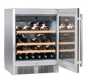 Уред за съхранение на вино за вграждане под плот Liebherr UWKes1752, Обем 110л, Сив