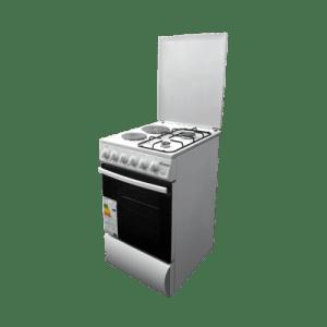 Комбинирана готварска печка Diplomat DPL BF21, Обем 59 л, Вентилатор, Бяла