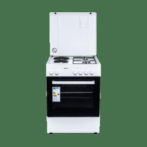 Комбинирана готварска печка Diplomat DPL-5022F, Обем 43 л, Вентилатор, Бяла