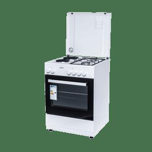 Комбинирана готварска печка Diplomat DPL-6022F, Обем 56 л, Вентилатор, Бяла