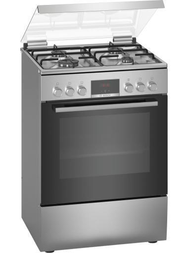 Свободностояща комбинирана готварска печка с газови котлони Bosch HXN39BD50, Енергиен клас А,  Мощност 3.3 kW, Инокс От Technoarena.bg. Разгледай Новите Оферти и Промоции. Безплатна Доставка