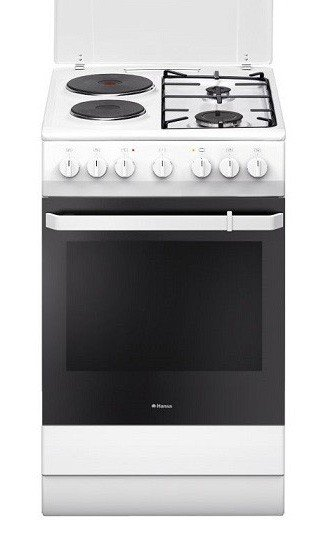 Комбинирана готварска печка Hansa FCMW-59119, Клас А, Обем 66 л, Бяла