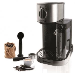 Кафемашина Rohnson R 975, Еспресо, 1470 W, 15 бара, Черна/Сива