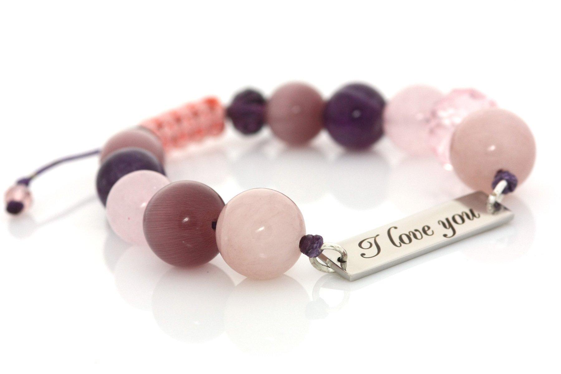 """Гривна """"I love you"""" в розово за късмет, защита и успехи"""