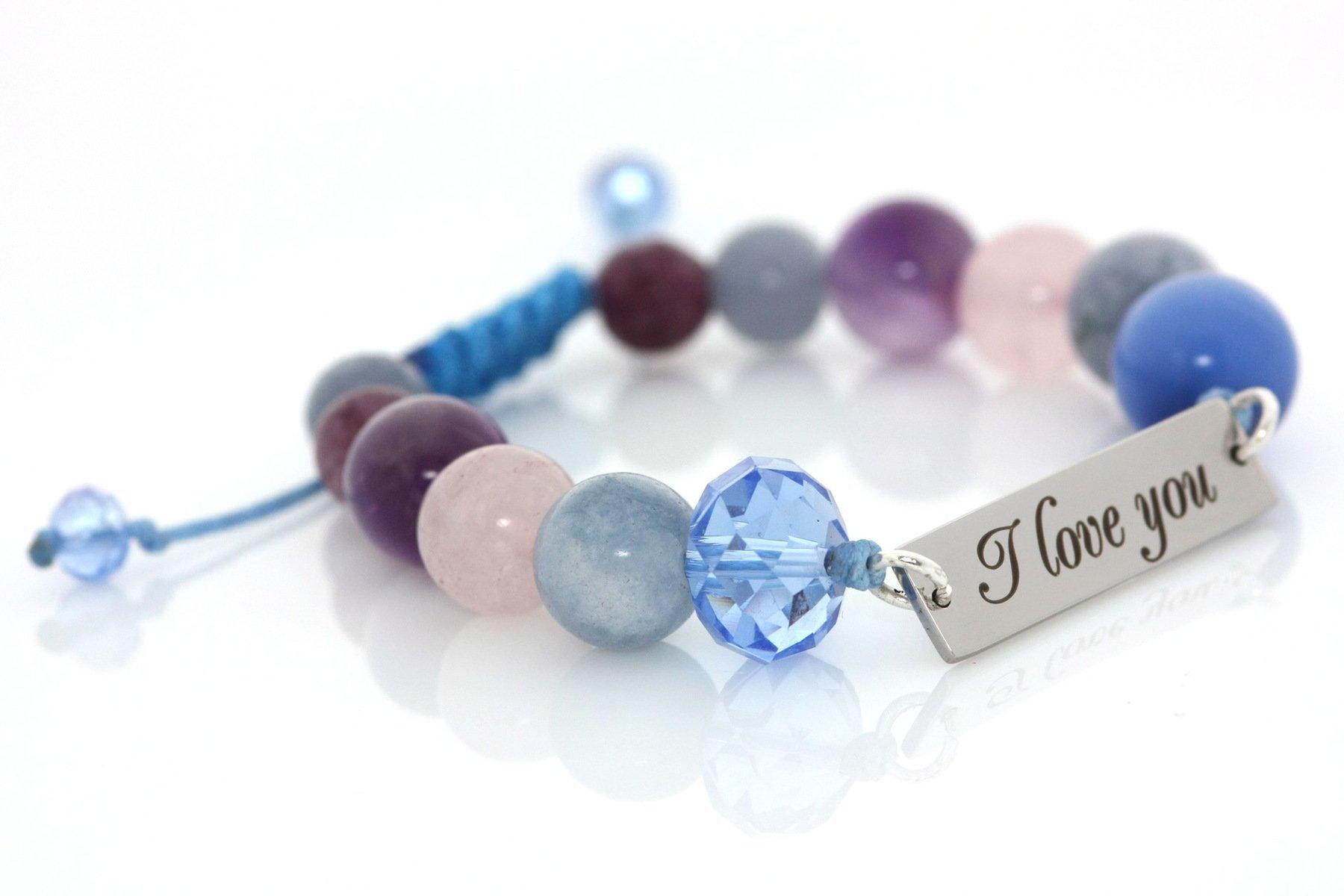 """Гривна """"I love you"""" в синьо за късмет, смелост и спокойствие"""