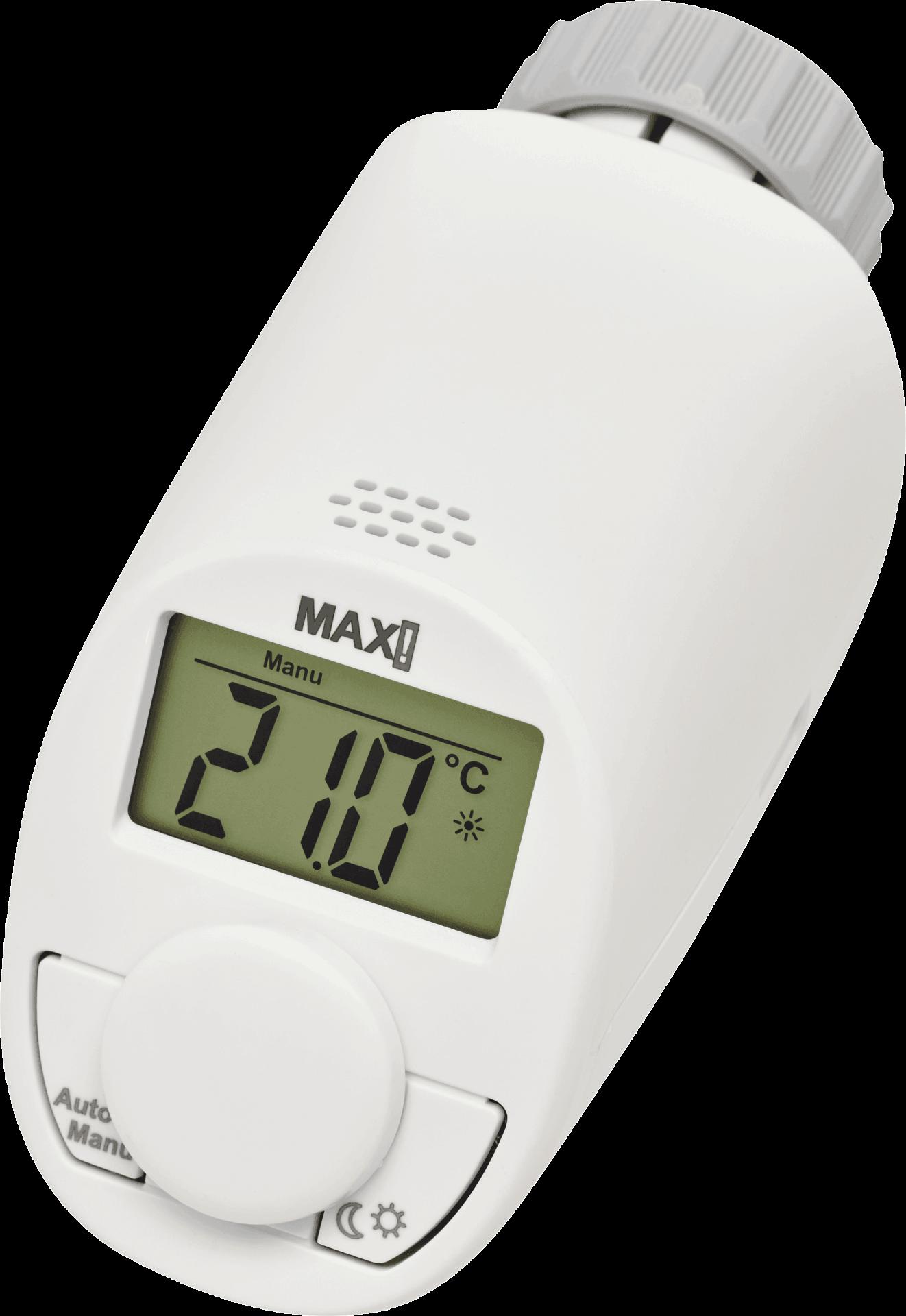 MAX! Стаен Пакет за управление на парно на едностаен апартамент 1x Стаен термостат + 1x Електронна термоглава с безжично управление