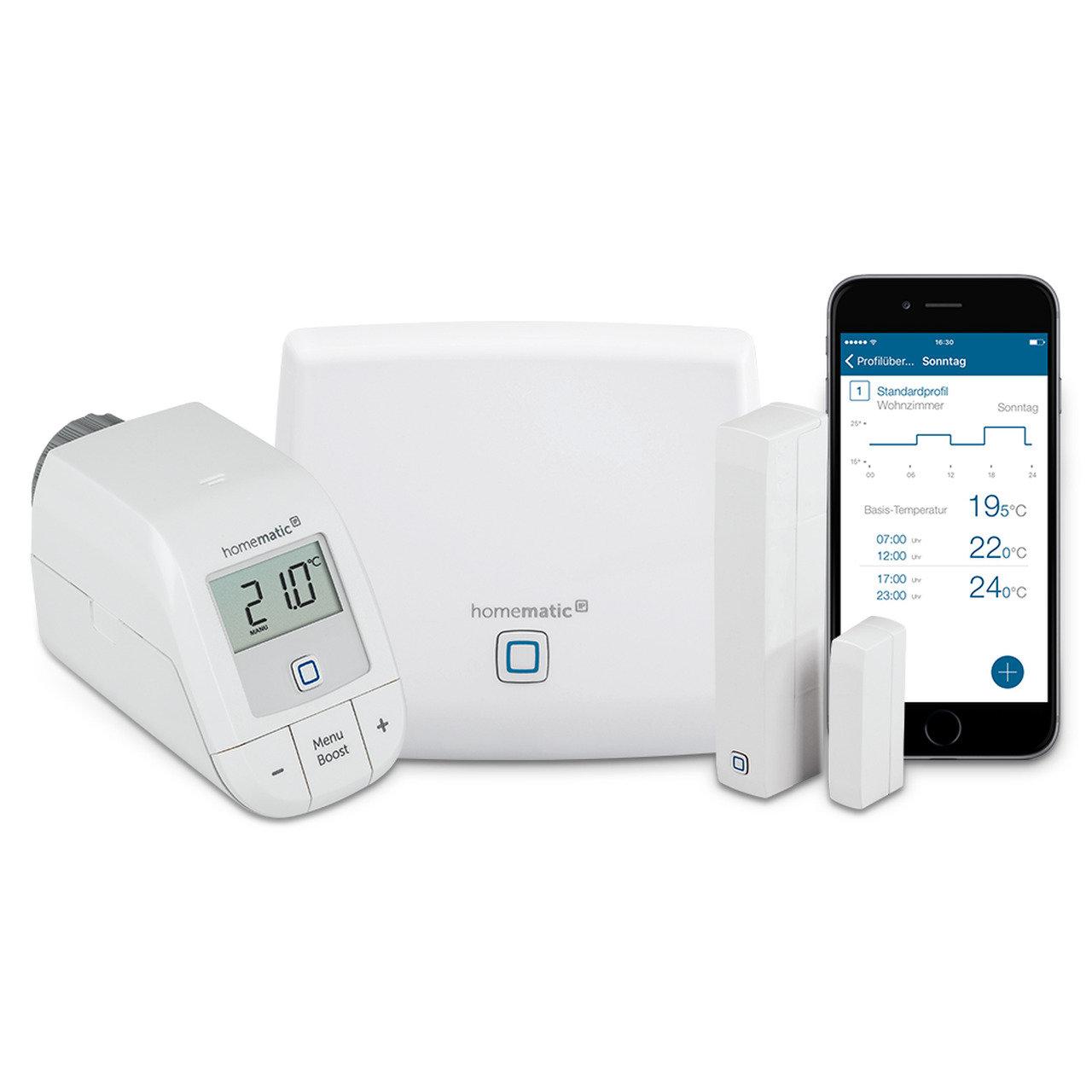 Homematic IP HmIP - Пакет Основен стартов за интелигентно управление на парно, 1хТочка за достъп, 1хЕлектронна термоглава с безжично управление, 1хСензор за прозорец