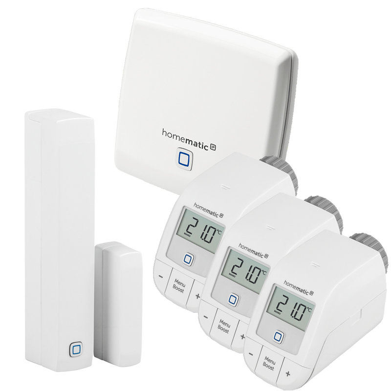 Homematic IP HmIP - Пакет класик 3 интелигентно парно за тристаен апартамент 1хТочка за достъп, 3хЕлектронна термоглава с безжично управление, 1хДатчик за прозорец