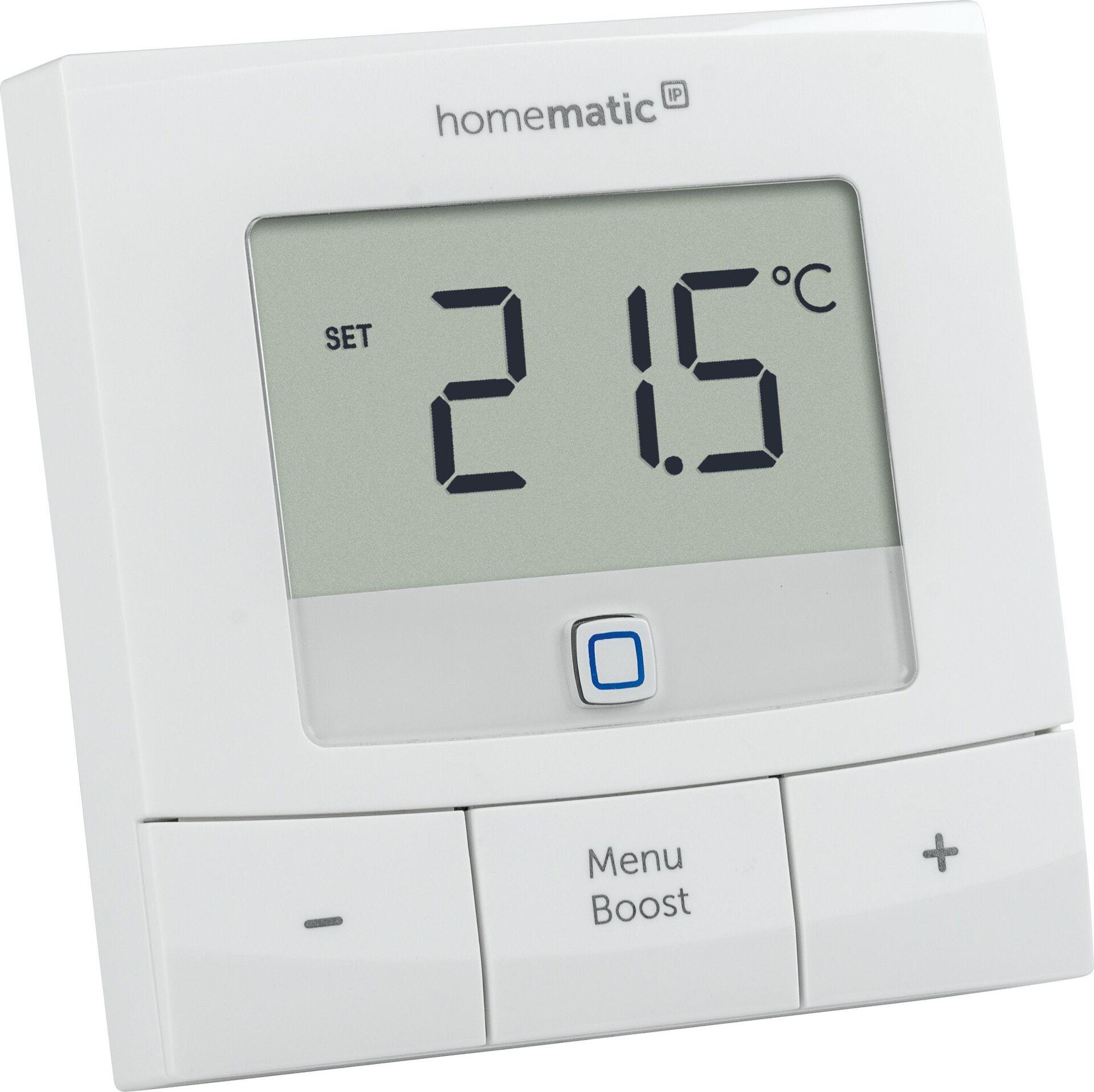 Homematic IP Стаен Пакет за управление на парно на едностаен апартамент 1x Стаен термостат + 1x Електронна термоглава с безжично управление
