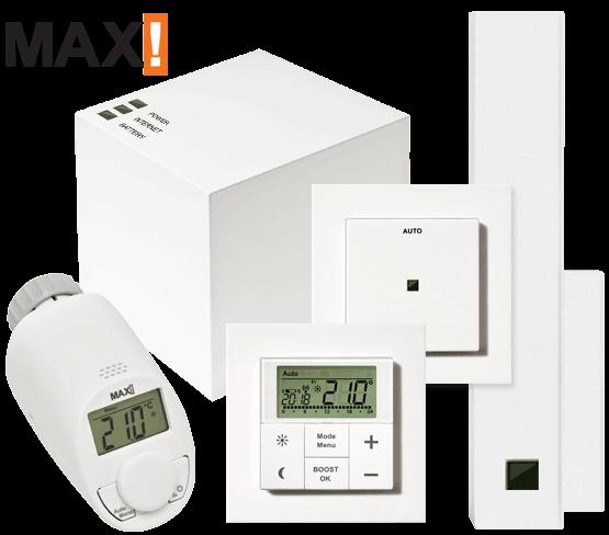 MAX! Пакет Комфорт Старт интелигентно безжично управление на парно, 1хCube LAN, 1хЕлектронна термоглава с безжично управление, 1хСтенен термостат, 1хСензор за прозорец, 1хЕко бутон