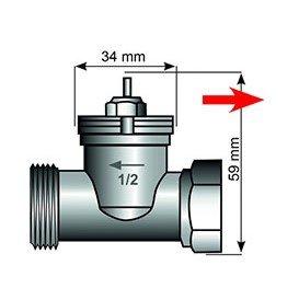 Адаптер за термостатен вентил Danfoss RAV 34mm /  М30х1,5  /Пластмаса/