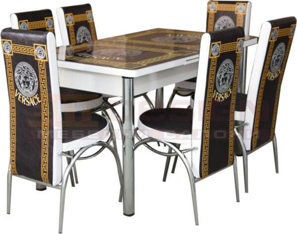 Трапезен комплект Верса черно и златно, трапезна маса с 6 броя столове