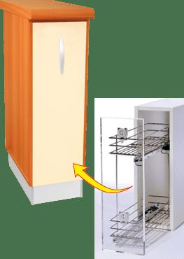 Кухненски шкаф долен модел L20 с кош за бутилки