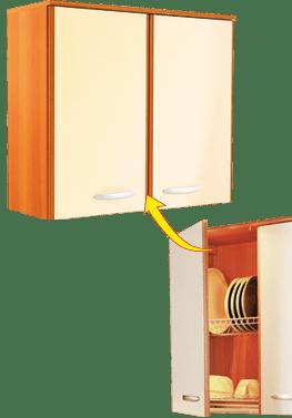 Кухненски шкаф горен модел L80 със сушилник за чинии