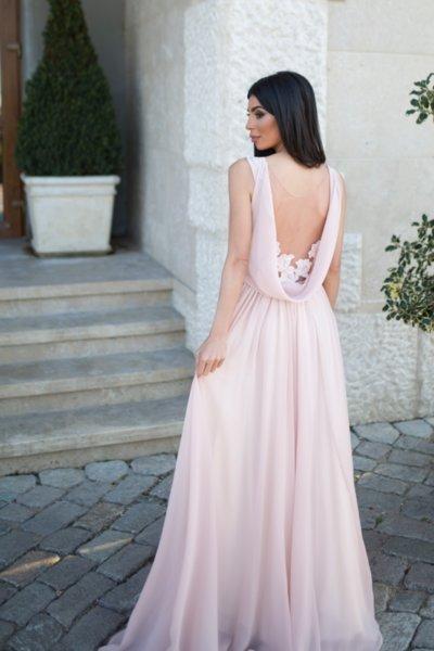 Мегз дълга рокля с ефектен гръб и бродерия - КОРСЕТ