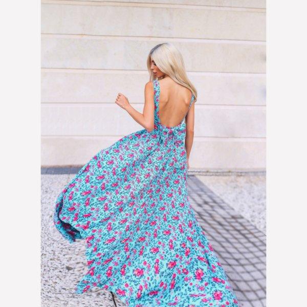 ЛИМИТИРАНА рокля принт с гол гръб и панделка
