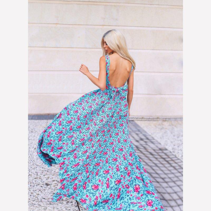 ЛИМИТИРАНА рокля принт с гол гръб и панделка-Copy