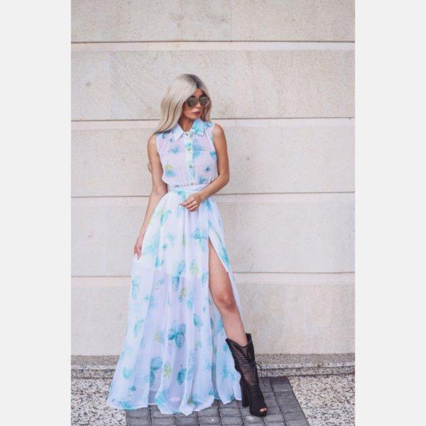 Лимитирана рокля с принт цветя и пеперуди