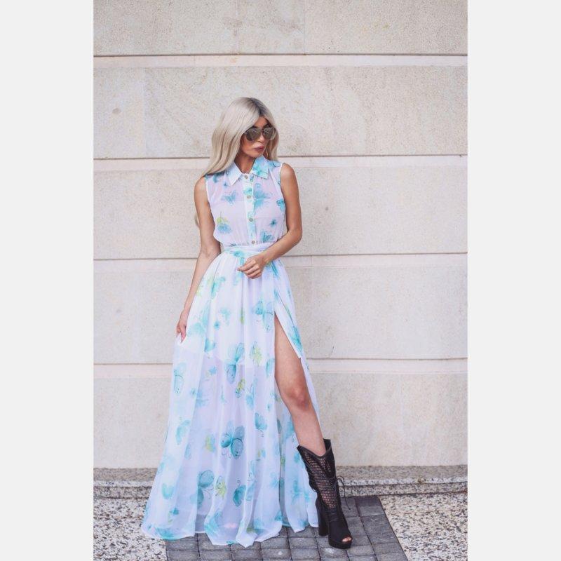 Лимитирана рокля с принт цветя и пеперуди-Copy