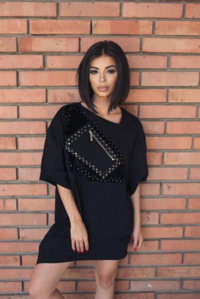 MR FEYZ туника/рокля с асиметричен дизайн и метални орнаменти