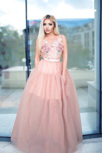 Мегз дълга рокля с бродерия 3D цветя и мъниста