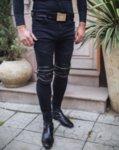 Мъжки дънки с кожени детайли и ципове