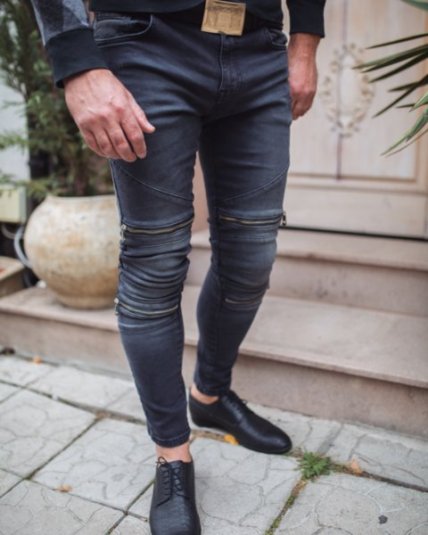 Черни мъжки дънки с ципове