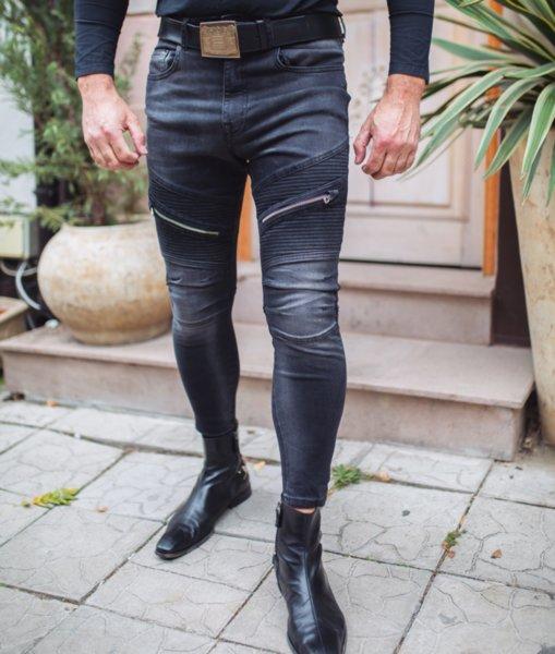 Черни мъжки дънки с два ципа