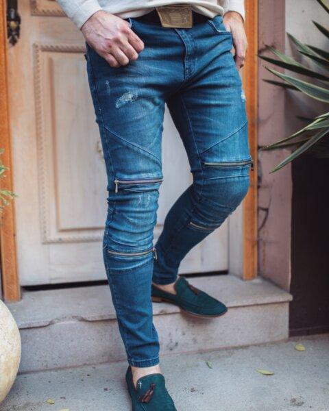 Мъжки сини дънки с ципове 2