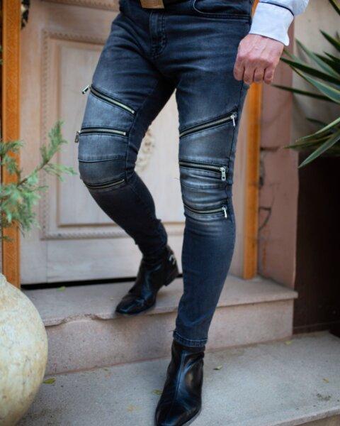 Мъжки дънки с три ципа черни