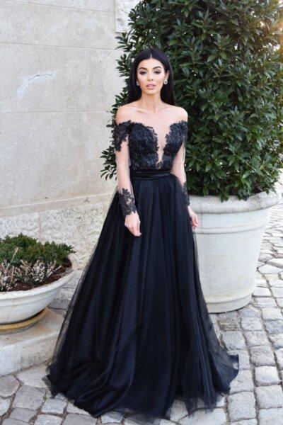Мегз дълга рокля корсет с бродирана 3D дантела