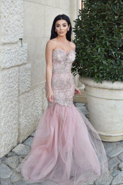 МЕГЗ рокля най-уникалната дантела пепел от рози дълга