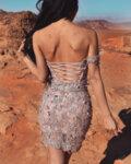 МЕГЗ рокля най-уникалната дантела пепел от рози къса