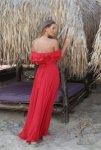 Мегз Дълга рокля с паднало рамо