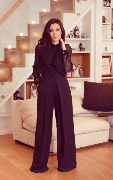 Мегз Асиметрична блуза с шифон и дантела