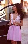 Мегз къса дантелена рокля 2в1