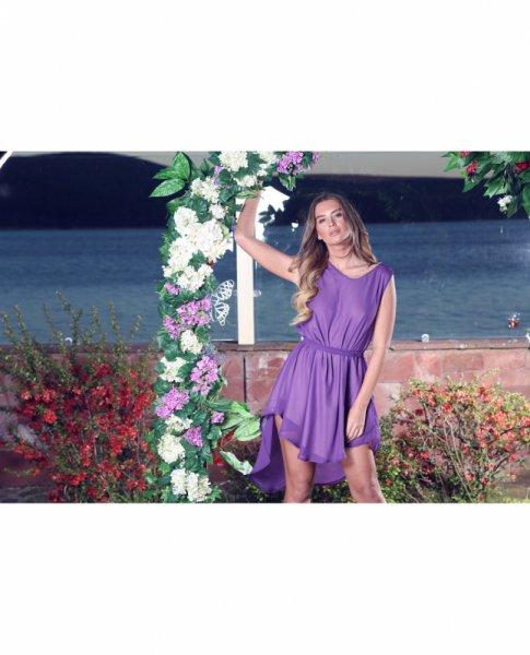 Мегз Асиметрична рокля от шифон